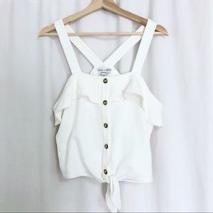 NWT Madewell Ruffle Front Tie Tag